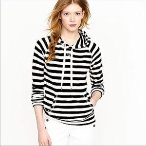 J.Crew Stripe popover hoodie terry women's medium